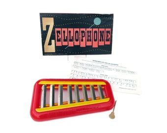 c1960 Toy Xylophone Original Box with Sheet Music, Pressman  Zellophone, Bright Red and Yellow Hard Plastic Instrument, Metal Bars, Nice