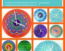 Hand painted colorful wall clocks -  Unique clocks - Rainbow clocks - Clock - Housewarming gift - Unique home decor - Hand painted clock