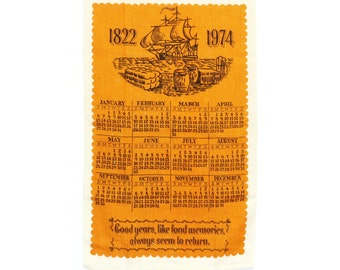 1974 Tea Towel Calendar - Tall Ship Kitchen Towel - Vintage Calendar Tea Towel