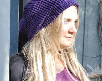Slouchy beanie hat in dark purple M (MD-1002)