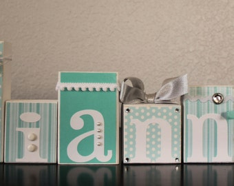 Turquoise Nursery Letters- Turquoise Blue Turquoise Communion Decor- Teal White Table Centerpiece- Baby Letter Blocks- Aqua Communion Table