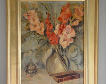 Vintage Floral Painting, Gladilola Painting, Impressionist Oil Painting, Still Life Painting, Mid Century Painting, Regency Painting