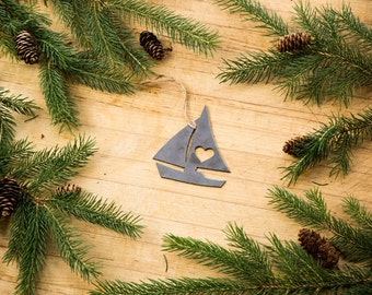 Love Sailing or Sailboat Christmas Ornament Rustic Metal Ornament Recycled Steel Holiday Gift Industrial Decor Wedding Favor