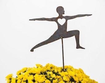 Yoga Warrior Pose Heart Garden Art Stake