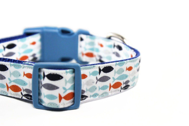 Blue fish dog collar sea nautical beach dog collar by dusidog for Fish dog collar
