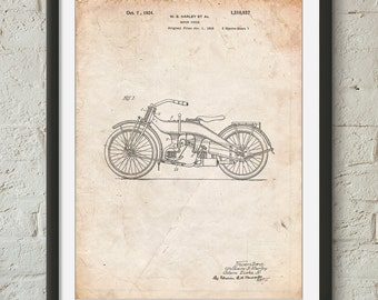 Harley Davidson Motorcycle 1919 Patent Poster, Motorcycle Print, Vintage Motorcycle, Vintage Harley Davidson, Teen Boy Room Decor, PP0194