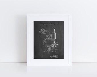 Antique Microscope Patent Poster, Pharmacy Gift, Science Decor, Biology Teacher, Technology Art, Chemistry, Science Teacher Gift, PP0064