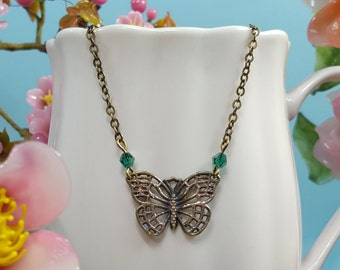 Butterfly Necklace,Teal Bridesmaid,Glitter Butterfly Wings, Butterfly Wedding,Christmas Gift, Green,Girlfriend Gift,Bronze Necklace, N5900