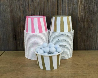 Gold and Pink Paper Snack Cups - Set of 48 - Striped Candy Cup - Birthday Party - Mini Ice Cream Cup - Paper Nut Cup - Same Day Shipping