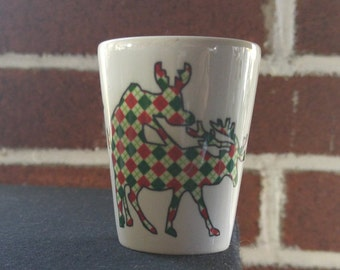 Humping reindeer shot glass