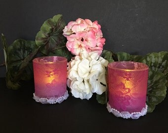 Pink Ombre - Wedding Candles - Pink Candle - Pink Lace - Wedding Decorations - Votive Candles - Wedding Candle Centerpiece - Pink Decor