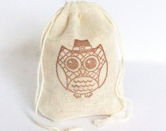 Harvest Owl Bag 6 cotton favor bag with stamp gift Thanksgiving bags goodies treat bag
