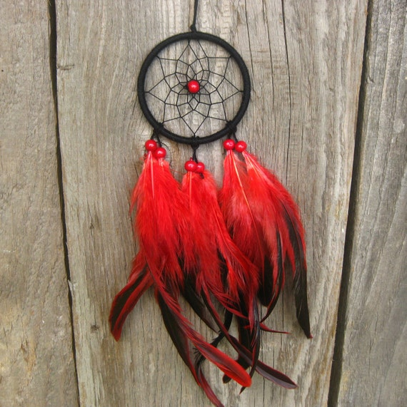 Black Red Car Dream Catcher Small Dream Catcher Rear Mirror