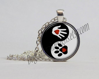 Necklace Yin Yang Hand Paw Heart Picture Pendant Necklace Rescue Necklace Dog Necklace Animal Necklace Red Black White