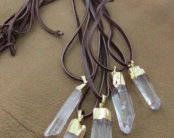 Tribal boho long necklace white raw crystal rock pendant leather cord, druzy quartz long necklace, hippy tribal gemstone necklace, pixie