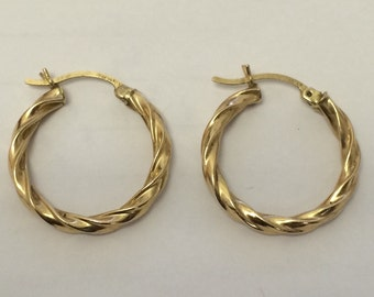 "14K Yellow Gold 1"" Twisted Hoop Earrings 2.3 Grams BEAUTIFUL"