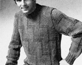 Mens Pullover Sweater Vintage Knitting Pattern Download