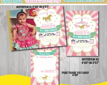 Printable Pink and Gold Carousel Invitation-Pink and Gold Carousel Invitation-First Carnival Invite-1st birthday Invite-Gold Carousel