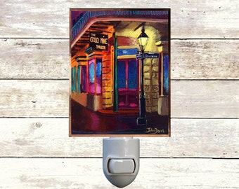 """Night Light, """"The Gold Mine"""", New Orleans Icons,  Handmade, Copper Foiled"""