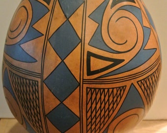 "SALE/Amazing hand painted Huge/Large gourd 12"" tall signed by the artist-Private Collection"