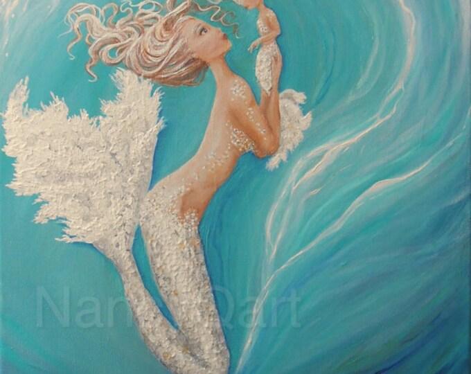 Mother & daughter mermaid art,  baby mermaid painting,  cute mermaid wall art, Original painting by Nancy Quiaoit