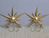 ON SALE! Pair of Starburst Candle Sconces, Gilt Brass Sputnik Sconces, Brass Sconces, w/Removable Candle Holders