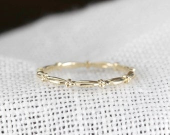 14k gold thin band, dainty wedding ring, delicate stackable rings, stacking rings, bead ring, rose gold, white gold, stack-r102