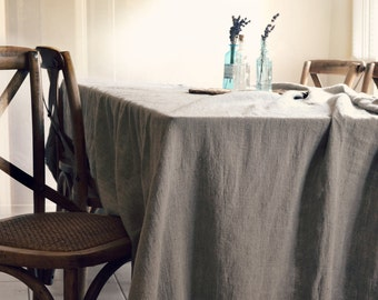 Rustic Rough Stonewashed Linen Tablecloth