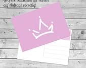 Postkarte, Prinzessin, Krone, Krönchen, rosa, Mädchen, Geburtstag, Fest, Kinder, Cinderella, Elsa