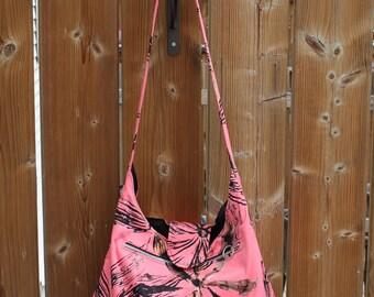 Pink Flower Shoulder Bag - Pink Flower Handbag - Fashion Purse - Pink Carryall - Flower Purse - Fabric Hobo Bag - Womens Pink Purse