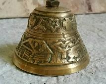Brass cowbell Swiss bell large heavy mountain flowers cabins cross souvenir