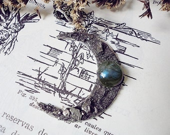 Pyrite Moon Pendant, Labradorite Moon, Crushed Pyrite, Witch Necklace, Protection, Half Moon