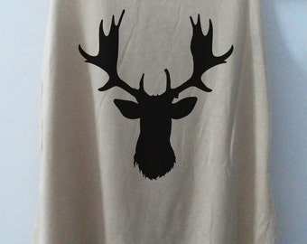 Deer Art Vintage Tank Top Art T-Shirt Fashion Shirt Women Shirt  Women T-Shirt Tunic Top Vest Size S,M,L