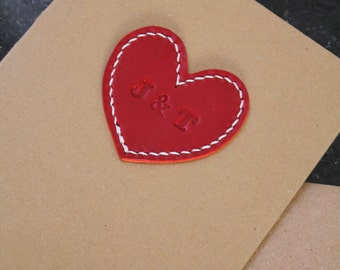 Personalised leather heart card. Great for an anniversary, wedding, engagement or Valentine's Day. Handmade, handstitched