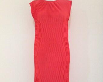 Vintage 60s Mod Tricel Knit Dress, 60s Mod Dress, 60s Dress, Mod Midi Dress, 60s Midi Dress, Mad Men Style Dress, Megan Draper Dress, 60s