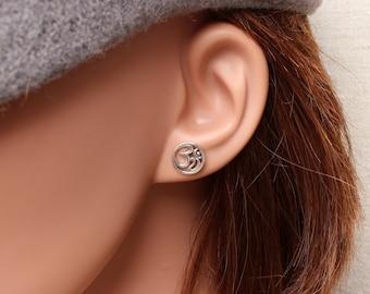 Om earrings, Sterling silver Ohm post earrings