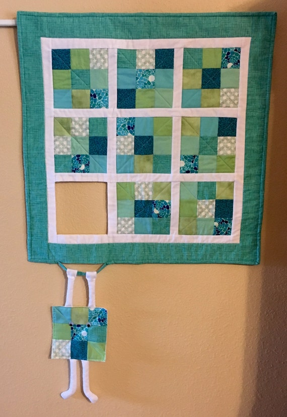 Quilted Wall Hanging runaway quilt block hang in there/humorous quilted wall