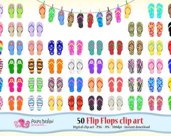 50 flip flops clipart. Beach clipart summer clipart Digital flip flops clip art flip flop clipart summer clip art sandals pool party clipart