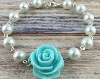 Flower Bracelet, Light Blue Rose and Pearl Bracelet, Wire Wrapped Bracelet, Flower Jewelry, Something Blue Jewellery
