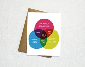 Funny Venn Diagram Greeting Card, Birthday, Friend, Love, Anniversary, Just Because