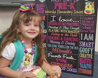 1st Day of School Sign, First day of school poster sign, 1st day preschool, kindergarten, 1st grade, girls 1st day of school BRDSCH03