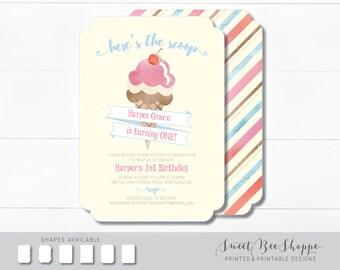 Ice Cream Birthday Invitation, Kids Ice Cream Birthday Party Invite, 1st Birthday, Ice Cream Social, Ice Cream Cone Birthday Invitation,