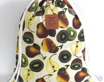 10% off [ orig. 14.99 ] Fruit lovers Backpack Canvas drawstring bag Pear & Kiwi Cotton Backpack Laptop bag Hip bag Handmade bag