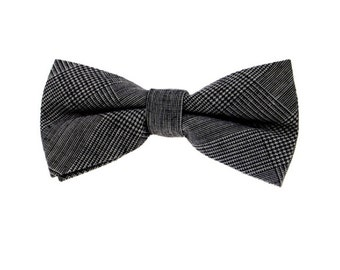 Grey Plaid Bowties.Houndstooth Bowties.Suit Accessories.Wedding Bow Tie.Bowtie For Wedding.Groomsmen Bowtie.