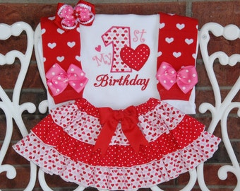 4 pc. Baby Girl Valentine's Day Birthday Outfit! My 1st Birthday Outfit with applique top, ruffle skirt, leg warmers, and hair bow!