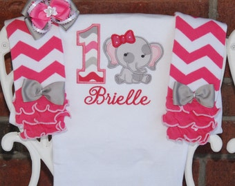 Baby Girl Elephant First Birthday Outfit! Baby Girl Birthday Outfit in pinks and gray with elephant applique top, leg warmers, and bow!