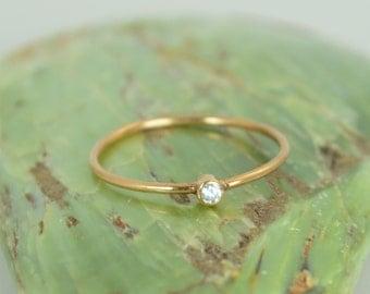 Tiny CZ Diamond Ring, Solid Rose Gold Diamond Stacking Ring, Solid 14k Gold Diamond Ring, Diamond Mothers Ring, April Birthstone, Diamond