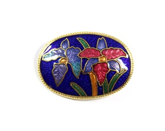 Vintage cloisonne brooch, small lily brooch, blue lily, enamel lily, cloisonne flower, lily pin, flower pin, cloisonne lily, small oval pin