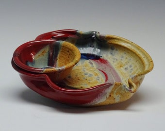 Stoneware Chip Dip, Pottery Chip and Dip, Ayers Pottery, Red Splash