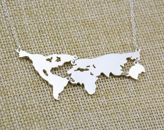 World Map Necklace,Country Necklace,Earth Jewelry,Memorial Gift,Travel Necklace,Personalized Jewelry,Silver Necklace,Earth Day Gift N069